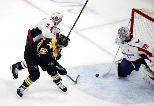 (AP Photo/Elise Amendola). Washington Capitals goaltender Braden Holtby (70) makes a stick save against Boston Bruins left wing Jake DeBrusk (74) as Capitals defenseman Matt Niskanen (2) defends during the first period of an NHL hockey game Thursday, J...