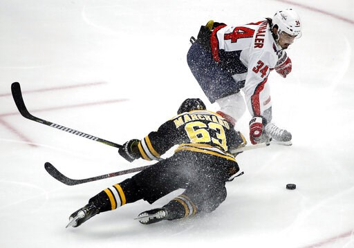 (AP Photo/Elise Amendola). Boston Bruins left wing Brad Marchand (63) is dumped to the ice by Washington Capitals defenseman Jonas Siegenthaler (34) near the Capitals' goal during the first period of an NHL hockey game Thursday, Jan. 10, 2019, in Bosto...
