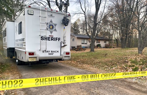 (AP Photo/Jeff Baenen, File). FILE - In this Oct. 23, 2018, file photo, a Barron County, Wis., sheriff's vehicle is parked outside the home where James Closs and Denise Closs were found fatally shot on Oct. 15. The Barron County Sheriff's Department sa...