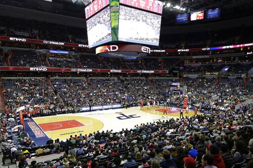 (AP Photo/Mark Tenally, File). FILE - In this Dec. 19, 2017, file photo, the New Orleans Pelicans and the Washington Wizards play in an NBA basketball game in Washington. A new, gambling-focused telecast of Wizards games is just the appetizer to what t...