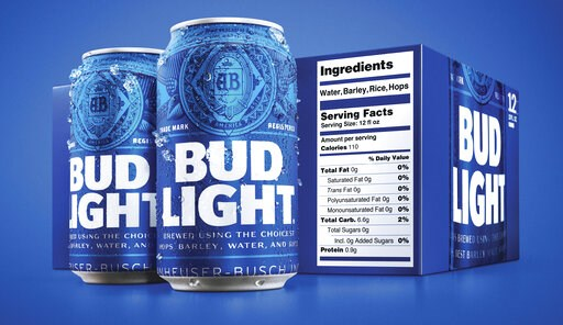 (Bud Light via AP). This undated product image provided by Bud Light shows a new nutrition label. Starting next month, packages of Bud Light will have prominent labels showing the beer's ingredients and calories as well as the amount of fat, carbohydra...