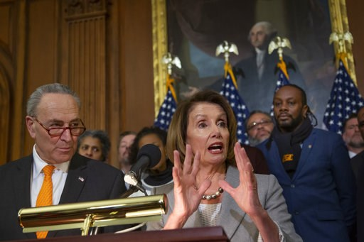 (AP Photo/J. Scott Applewhite). Speaker of the House Nancy Pelosi, D-Calif., and Senate Minority Leader Chuck Schumer, D-N.Y., left, are joined by furloughed federal workers at an event to discuss the impact on families from the partial government shut...