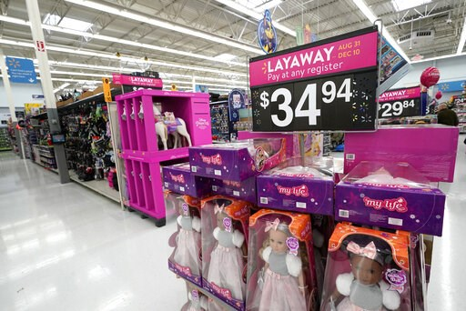 (AP Photo/David J. Phillip, File). FILE- In this Nov. 9, 2018, file photo toys are displayed at a Walmart Supercenter in Houston. On Friday, Jan. 11, 2019, the Labor Department reports on U.S. consumer prices for December.