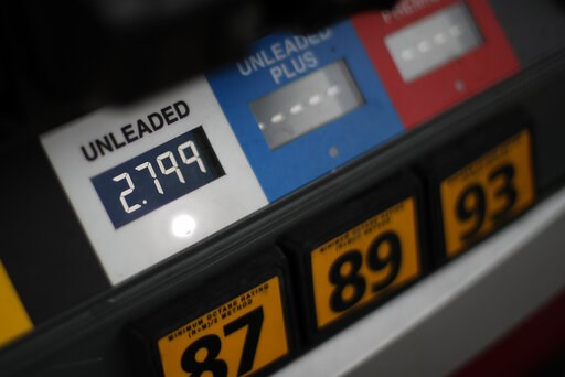 (AP Photo/Gene J. Puskar, File). FILE- In this Nov. 16, 2018, file photo the price of gas is displayed at a pump in West Mifflin, Pa. On Friday, Jan. 11, 2019, the Labor Department reports on U.S. consumer prices for December.