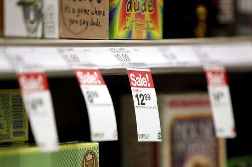 (AP Photo/Julio Cortez, File). FILE- In this Nov. 16, 2018, file photo, sale prices hang from a shelf in the board game section at a Target store in Bridgewater, N.J. On Friday, Jan. 11, 2019, the Labor Department reports on U.S. consumer prices for De...