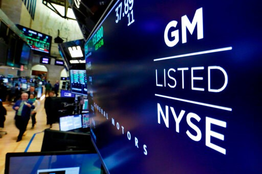 (AP Photo/Richard Drew, File). FILE- In this April 23, 2018, file photo, the logo for General Motors appears above a trading post on the floor of the New York Stock Exchange. General Motors Co. reports earns.  General Motors strengthened its pretax pro...
