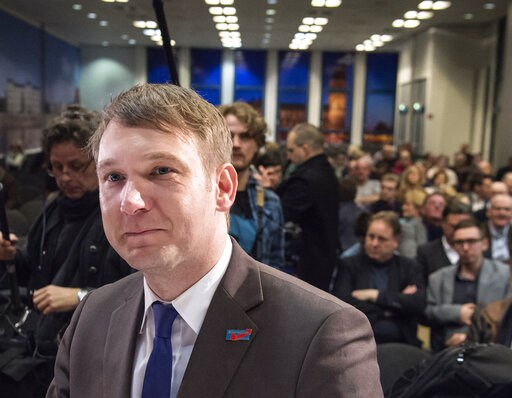 (AP Photo/Jens Meyer). In this Friday, March 11, 2016, file photo, Andre Poggenburg, former regional party leader of the Alternative fuer Deutschland (AfD) in the German state Saxony-Anhalt, arrives prior an election campaign rally of his party in Magd...