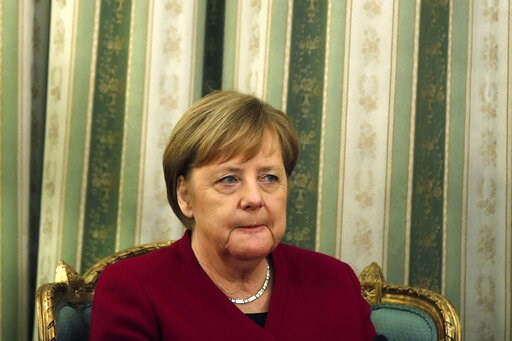 (AP Photo/Thanassis Stavrakis). German Chancellor Angela Merkel is seen during a meeting with Greece's President Prokopis Pavlopoulos at the presidential palace in Athens, Friday, Jan. 11, 2019. Merkel is widely blamed in Greece for the austerity that ...