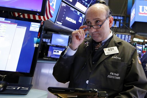 (AP Photo/Richard Drew). Trader Andrew Silverman works on the floor of the New York Stock Exchange, Friday, Jan. 11, 2019. Stocks are opening broadly lower on Wall Street, led by declines in banks and technology companies.