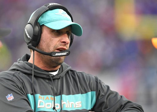 (AP Photo/Adrian Kraus, File). FILE - In this Sunday, Dec. 30, 2018 file photo, Miami Dolphins head coach Adam Gase watches the first half of an NFL football game against the Buffalo Bills in Orchard Park, N.Y. A person familiar with the decision says ...
