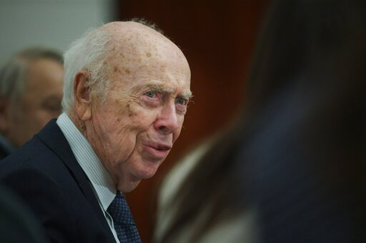 (AP Photo/Ivan Sekretarev). FILE - In this Wednesday, June 17, 2015 file photo, U.S. Nobel laureate biologist James Watson visits the Russian Academy of Sciences in Moscow, Russia. Watson, who lost his job in 2007 for expressing racist views, was strip...