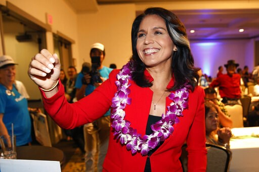(AP Photo/Marco Garcia, File). FILE - In this Nov. 6, 2018, file photo, Rep. Tulsi Gabbard, D-Hawaii, greets supporters in Honolulu. Gabbard has announced she's running for president in 2020. The 37-year-old Gabbard said in a CNN interview slated to ai...