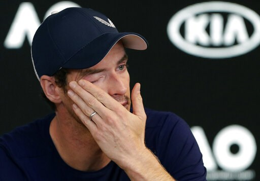 (AP Photo/Mark Baker). Britain's Andy Murray wipes tears from his face during a press conference at the Australian Open tennis championships in Melbourne, Australia, Friday, Jan. 11, 2019. A tearful Murray says the Australian Open could be his last tou...