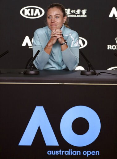 (AP Photo/Mark Schiefelbein). Germany's Angelique Kerber answers a question during a press conference ahead of the Australian Open tennis championships in Melbourne, Australia, Saturday, Jan. 12, 2019.