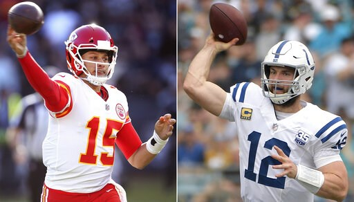 (AP Photo/File). FILE - At left, in a Dec. 2, 2018, file photo, Kansas City Chiefs quarterback Patrick Mahomes (15) passes against the Oakland Raiders during an NFL football game in Oakland, Calif. At right , also in a Dec. 2, 2018, file photo, Indiana...