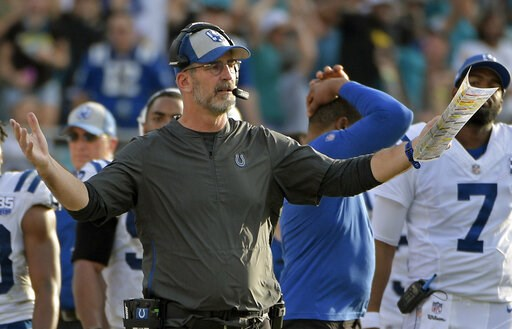 (AP Photo/Phelan M. Ebenhack, File). FILE - In this Dec. 2, 2018, file photo, Indianapolis Colts head coach Frank Reich questions a call by officials during the second half of an NFL football game against the Jacksonville Jaguars, in Jacksonville, Fla....
