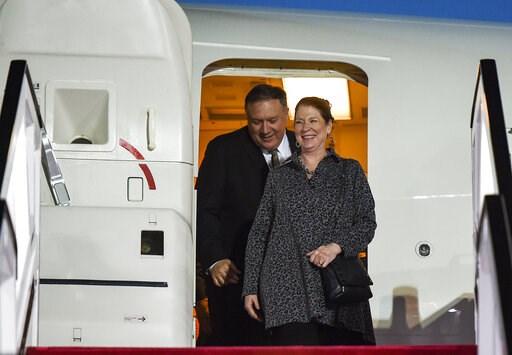 (Andrew Caballero-Reynolds/Pool Photo via AP). U.S. Secretary of State Mike Pompeo and his wife Susan arrive at Abu Dhabi International Airport in Abu Dhabi, United Arab Emirates, Friday, Jan.  11, 2019.