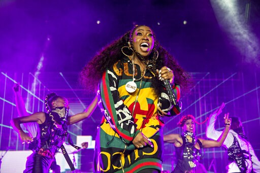 (Photo by Amy Harris/Invision/AP, File). FILE - In this July 7, 2018 file photo, Missy Elliott performs at the 2018 Essence Festival in New Orleans. Missy Elliott is making history as the first female rapper inducted into the Songwriters Hall of Fame, ...