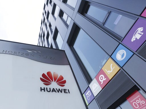 (AP Photo/Czarek Sokolowski). The Huawei logo displayed at the main office of Chinese tech giant Huawei in Warsaw, Poland, on Friday, Jan. 11, 2019. Poland's Internal Security Agency has charged a Chinese manager at Huawei in Poland and one of its own ...