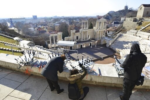 (AP Photo). Workers prepare fireworks at Plovdiv's second century AD amphitheatre, ahead of the opening ceremony of Plovdiv as the European Capital of Culture, in Bulgaria, Saturday, Jan. 12, 2019. Plovdiv is the first Bulgarian town named to celebrate...