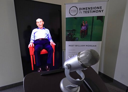 (AP Photo/David J. Phillip). A Dimensions in Testimony exhibit featuring Holocaust survivor William Morgan using an interactive virtual conversation is shown at the the Holocaust Museum Houston Friday, Jan. 11, 2019, in Houston. The University of South...
