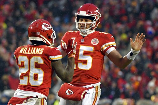 (AP Photo/Ed Zurga). Kansas City Chiefs quarterback Patrick Mahomes (15) celebrates a touchdown with running back Damien Williams (26) during the first half of an NFL divisional football playoff game against the Indianapolis Colts in Kansas City, Mo., ...