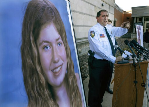 (Jerry Holt/Star Tribune via AP, File). FILE - In this Oct. 17, 2018, file photo, Barron County Sheriff Chris Fitzgerald speaks during a news conference about 13-year-old Jayme Closs who has been missing since her parents were found dead in their home ...