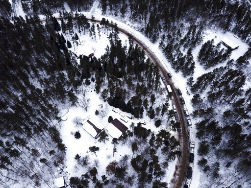 (Aaron Lavinsky/Star Tribune via AP)/Star Tribune via AP). This aerial photo shows the cabin where 13-year-old  Jayme Closs was held by Jake Thomas Patterson, is surrounded by law enforcement vehicles, Saturday, Jan. 12, 2019 in the town Gordon, Wis.  ...