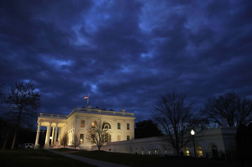 (AP Photo/Jacquelyn Martin, File). In this Jan. 8, 2019, photo, clouds roll over the White House, Tuesday Jan. 8, 2019, in Washington. The 2020 primary campaign is exploding 13 months before the first voters head to the polls. Candidates and potential ...