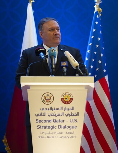 (Andrew Caballero-Reynolds/Pool Photo via AP). U.S. Secretary of State Mike Pompeo, holds a joint press conference with Qatari Foreign Minister Sheikh Mohammed bin Abdulrahman Al Thani, at the Sheraton Grand in Doha, Qatar, Sunday, Jan. 13, 2019.
