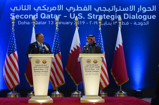 (Andrew Caballero-Reynolds/Pool via AP). U.S. Secretary of State Mike Pompeo, left,  holds a joint press conference with Qatari Foreign Minister Sheikh Mohammed bin Abdulrahman Al Thani, at the Sheraton Grand in Doha, Qatar, Sunday, Jan. 13, 2019.