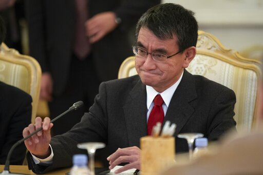(AP Photo/Alexander Zemlianichenko). Japanese Foreign Minister Taro Kono speaks to Russian Foreign Minister Sergey Lavrov during their talks in Moscow, Russia, Monday, Jan. 14, 2019.