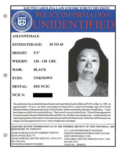 (Spartanburg County, South Carolina, Sheriff's Office via AP). Myoung Hwa Cho is shown on a poster provided by the Spartanburg County, South Carolina, Sheriff's Office. More than 20 years after the bodies of Myoung Hwa Cho, and a 10-year-old boy were f...