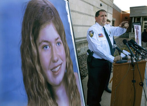 (Jerry Holt/Star Tribune via AP). FILE - In this Oct. 17, 2018, file photo, Barron County Sheriff Chris Fitzgerald speaks during a news conference about 13-year-old Jayme Closs who has been missing since her parents were found dead in their home in Bar...