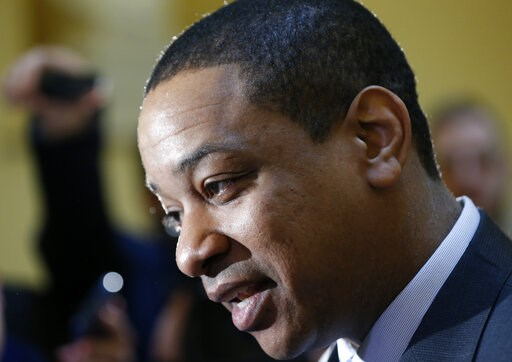 (AP Photo/Steve Helber). Virginia Lt. Gov. Justin Fairfax speaks to the media in the rotunda at the Capitol in Richmond, Va., Monday, Feb. 4, 2019. The Ivy League-educated lawyer and presiding officer in Virginia's Senate would become the state's secon...