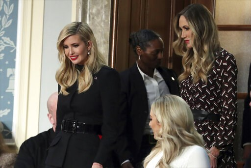 (AP Photo/Andrew Harnik). Ivanka Trump, left, and Lara Trump arrive to hear President Donald Trump deliver his State of the Union address to a joint session of Congress on Capitol Hill in Washington, Tuesday, Feb. 5, 2019. Tiffany Trump is at bottom ri...