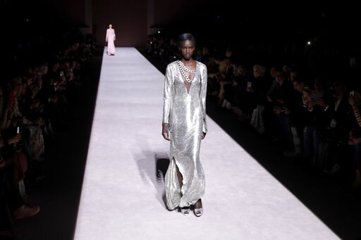 (AP Photo/Julio Cortez). Fashion from the Tom Ford collection is modeled during Fashion Week, Wednesday, Feb. 6, 2019, in New York.
