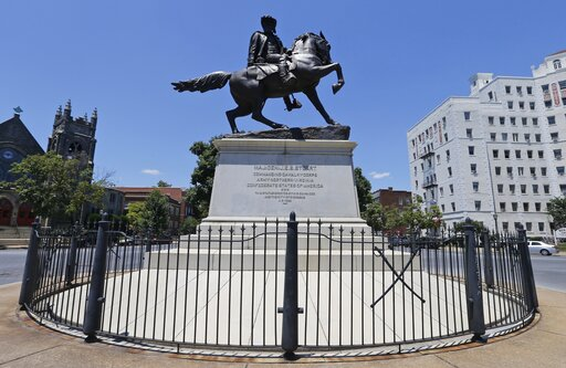 (AP Photo/Steve Helber). This June 28, 2017, shows the statue of Confederate Gen. J.E.B. Stewart on Monument Avenue in Richmond, Va. Va. The state with the largest number of Confederate monuments, statues and symbols in the nation, still hasn't come up...