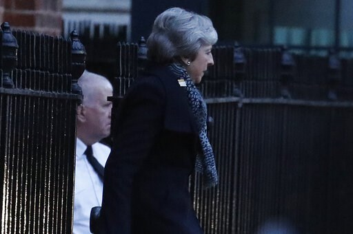(AP Photo/Frank Augstein). Britain's Prime Minister Theresa May leaves 10 Downing Street, in London, Thursday, Feb. 7, 2019, travelling to join an EU meeting in Brussels. Theresa May plans to meet with European leaders in Brussels on Thursday seeking c...