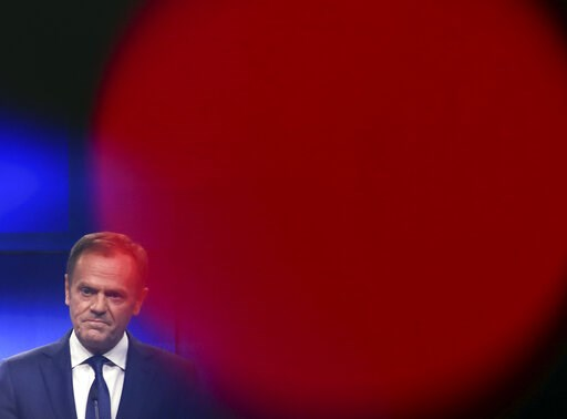 (AP Photo/Francisco Seco). European Council President Donald Tusk makes a joint statement with Irish Prime Minister Leo Varadkar following their meeting at the Europa building in Brussels, Wednesday, Feb. 6, 2019.