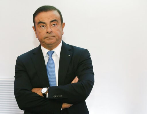 (AP Photo/Michel Euler, File). FILE - In this Oct. 6, 2017, file photo, then Renault Group CEO Carlos Ghosn listens during a media conference at La Defense business district, outside Paris. Carmaker Renault has alerted French authorities to a 50,000-eu...