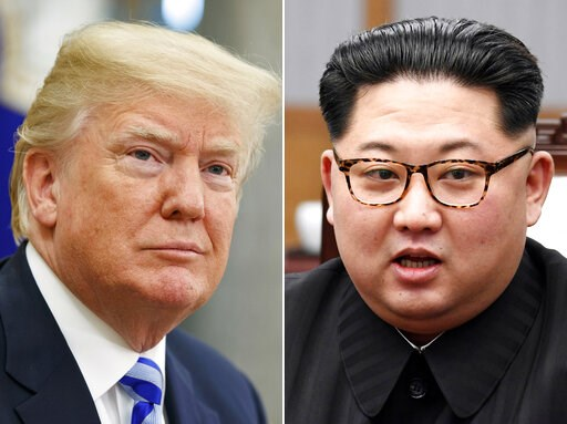 (AP Photo/Evan Vucci, Korea Summit Press Pool via AP, File). FILE- In this combination of file photos, U.S. President Donald Trump, left, in the Oval Office of the White House in Washington on May 16, 2018, and North Korean leader Kim Jong Un in a meet...