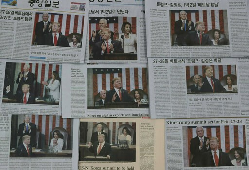 (AP Photo/Lee Jin-man). Newspapers' front pages showing U.S. President Donald Trump delivering his State of the Union address, are seen in Seoul, South Korea, Thursday, Feb. 7, 2019. With the next meeting between Trump and North Korean leader Kim Jong ...