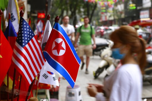 (AP Photo/Hau Dinh, File). FILE - In this Jan. 29, 2019, file photo, U.S and North Korean flags are on display for sale at a flag shop in Hanoi, Vietnam. With the next meeting between U.S. President Donald Trump and North Korean leader Kim Jong Un set ...