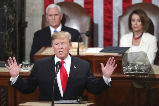 (AP Photo/Andrew Harnik, File). FILE - In this Feb. 5, 2019 file photo, President Donald Trump delivers his State of the Union address to a joint session of Congress on Capitol Hill in Washington, as Vice President Mike Pence and Speaker of the House N...