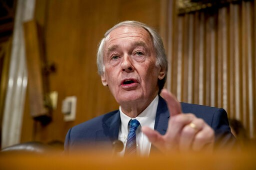 (AP Photo/Andrew Harnik, File). FILE - In this Jan. 16, 2019, file photo, Sen. Ed Markey, D-Mass., speaks during a hearing on Capitol Hill in Washington.  Democrats including veteran Markey and Rep. Alexandria Ocasio-Cortez of New York are calling for ...