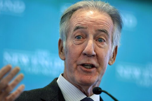 (AP Photo/Steven Senne). FILE - In this Nov. 27, 2018 file photo, Rep. Richard Neal, D-Mass., then incoming chairman of the House Ways and Means Committee, addresses an audience during a gathering of business leaders in Boston. The Democrats tried and ...
