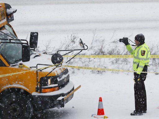 (Richard Tsong-Taatarii/Star Tribune via AP). The driver of a school bus was taken to the hospital in a shooting on HWY 35 near downtown Minneapolis, Tuesday, Feb. 5, 2019. Authorities say a school bus driver was wounded in a shooting that followed a c...
