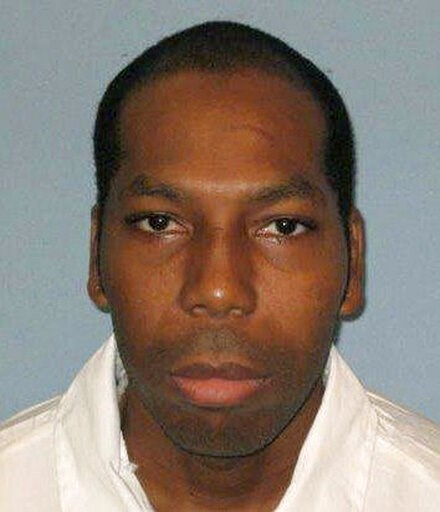 (Alabama Department of Corrections via AP, File). FILE - This undated file photo from the Alabama Department of Corrections shows inmate Dominique Ray.  A federal appeals court has stayed the execution of Ray, a Muslim inmate in Alabama who says the st...