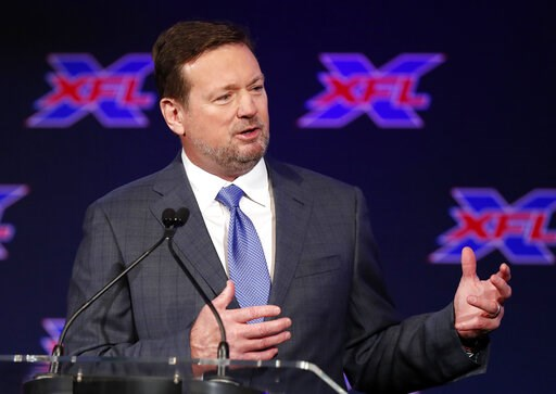 (AP Photo/Tony Gutierrez). Bob Stoops speaks after being introduced as the new head coach and general manager of the XFL Dallas football team during a news conference in Arlington, Texas, Thursday, Feb. 7, 2019.